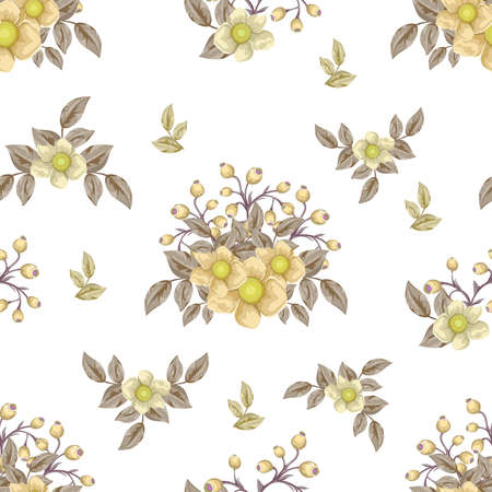 Floral pattern with bouquets of flowers design template.