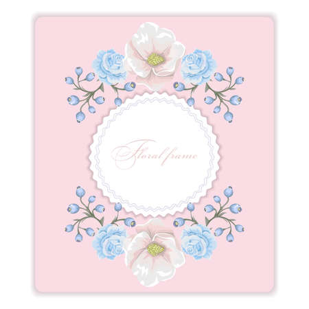 Floral frame with bouquets of flowers design template.