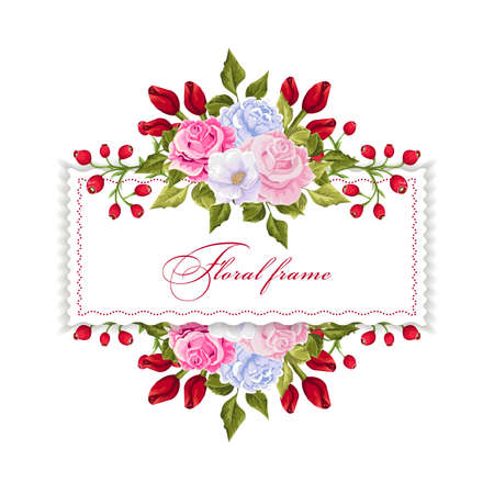 Floral rectangle frame with bouquets of flowers design template. Ilustração