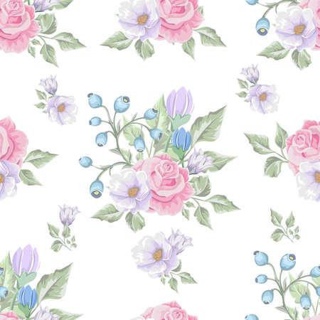 Floral pattern with soft pink bouquets of flowers design template. Ilustração
