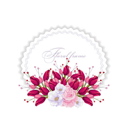 Floral round frame with bouquets of flowers design template.