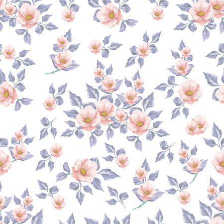 Floral seamless pattern with soft blue  bouquets of flowers. Hand drawn illustration.