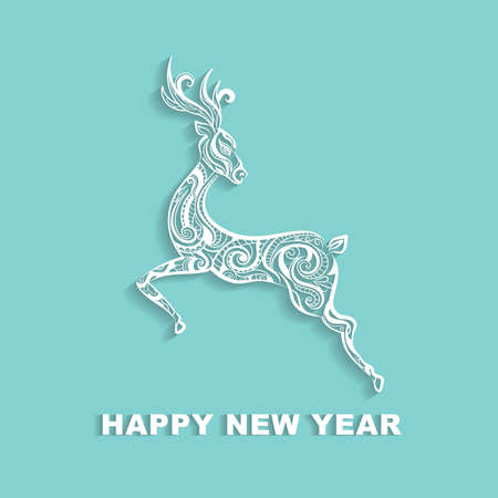 decorative jumping deer. vector illustration isolated on green background