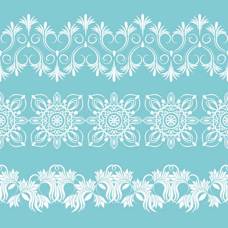 set white laces. seamless pattern, vector border.