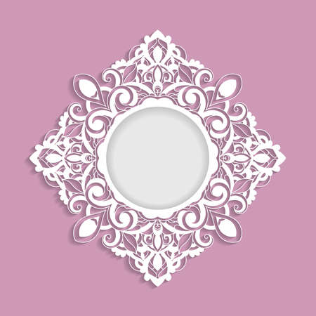 Vector ornamental  frame with shadow.  Template for greeting cards, invitations. Illusztráció