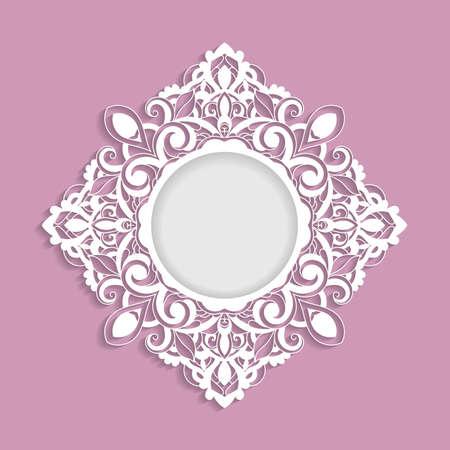 Vector ornamental  frame with shadow.  Template for greeting cards, invitations. Ilustração