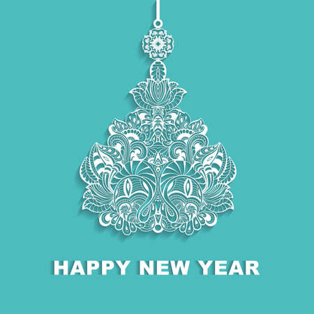 Openwork Christmas tree with shadow. Vector template for greeting cards, invitations.