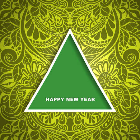 Christmas tree with shadow on green background. Vector template for greeting cards, invitations.