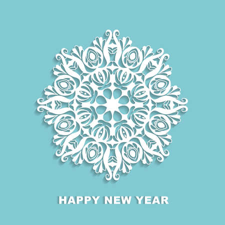 cut out white snowflake on a blue background. Vector template for greeting cards, invitations.