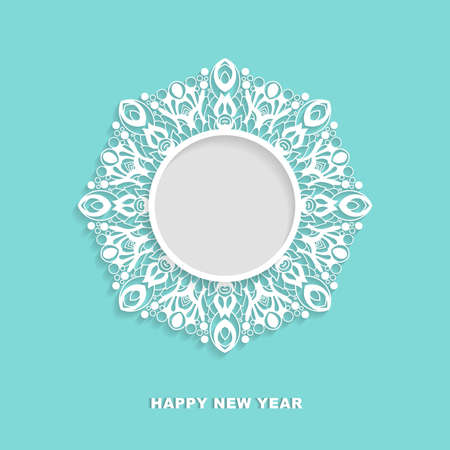 Vector ornamental round frame with shadow. Snowflake, mandala,  template for greeting cards, invitations. Illusztráció