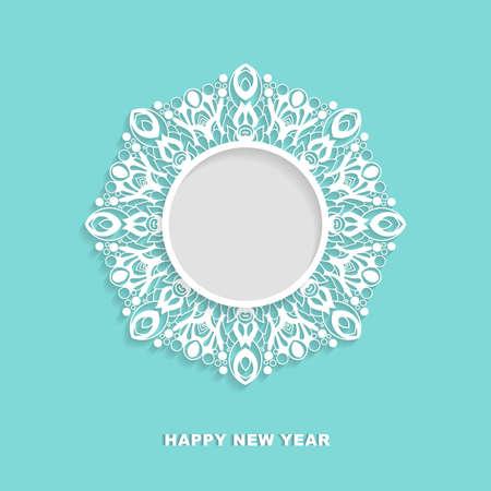 Vector ornamental round frame with shadow. Snowflake, mandala,  template for greeting cards, invitations. Ilustração