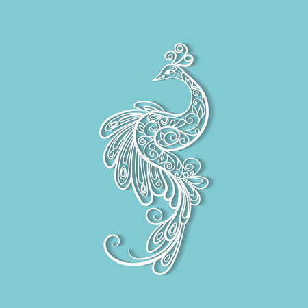 vector ornamental white peacock isolated on  background
