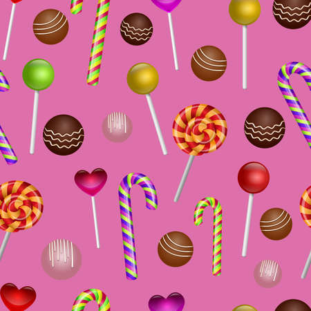 Colorful   seamless pattern with candy and lollipops. Festive vector illustration.