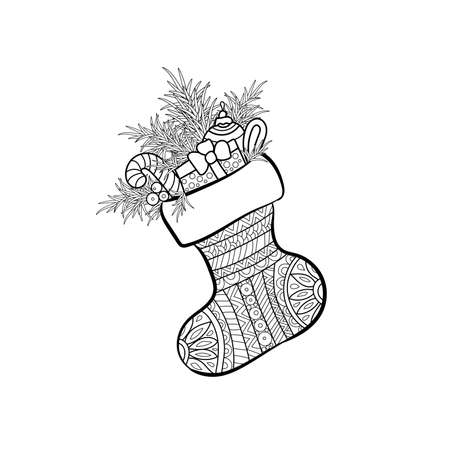 Vector Illustration of Christmas Sock with gifts. Coloring book page. Decorative holiday element for decoration for New Year and Christmas. Ilustração