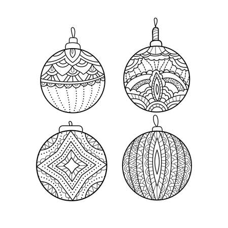Vector set of hand drawn Christmas balls. Coloring book page. Decorative holiday element for decoration for New Year and Christmas.