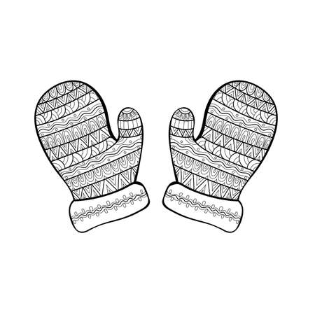 Hand drawn Christmas mittens in zentangle style. Coloring book page.