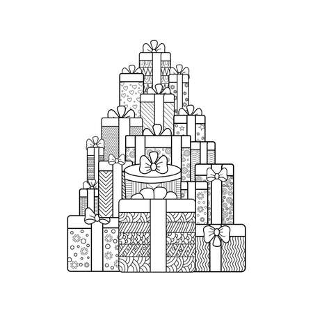 gift boxes. Hand-drawn  vector illustration for coloring book in zentangle style Ilustração