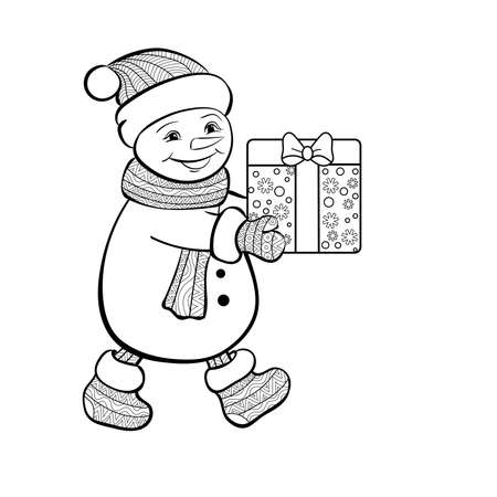 christmas funny snowman with gift. Hand-drawn  vector illustration for coloring book.