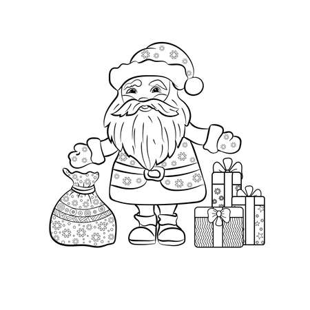 Santa Claus with Christmas gifts. Hand-drawn  vector illustration for coloring book.