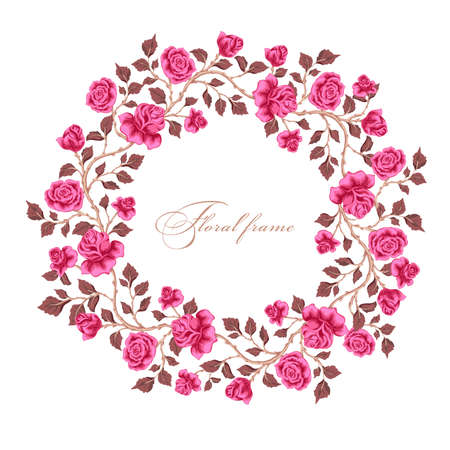Greeting card with bouquet flowers for wedding, Valentine's day, birthday and other holidays. Vector floral round frame.