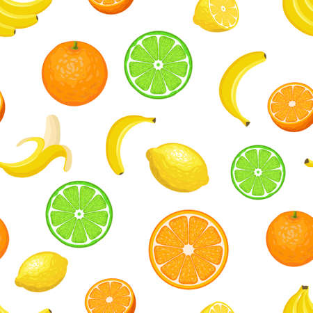Vector seamless pattern with fruits on white background. Colorful illustration.