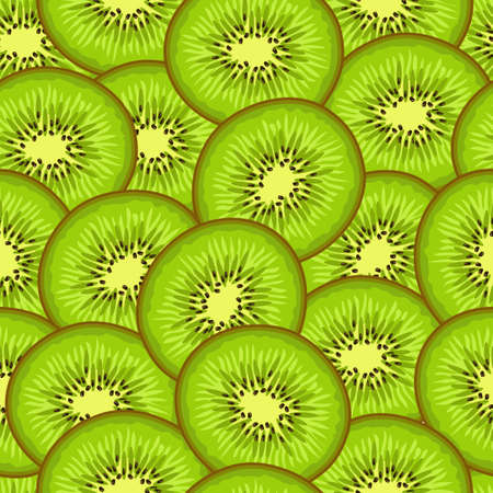 Vector seamless pattern with green kiwi on white background. Colorful illustration. Ilustração