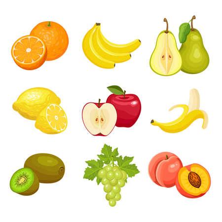Set of fresh fruits  isolated on white background. Orange, banana, pear, lemon, Apple, kiwi, grapes, peach. Vector colorful icons. Ilustração