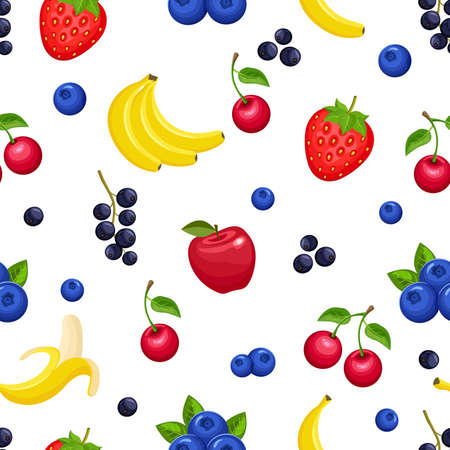 Vector seamless pattern with fruits and berries on white background. Colorful illustration.