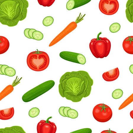 Vector seamless pattern with vegetables on white background. Colorful illustration.