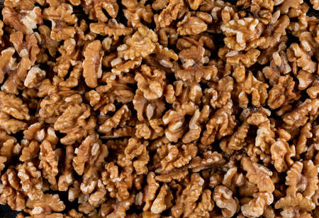 Top view walnuts texture background horizontal