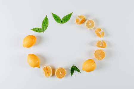 Top view lemons forming circle with leaves on white background. horizontal