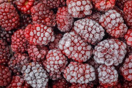 Snowy fresh blackberries . close-up. horizontal.