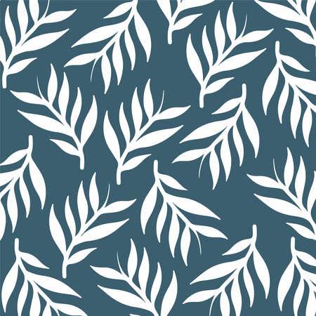 Leaves Floral Pattern Background. Botanical Vector Illustration. Vecteurs