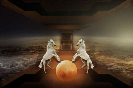 Two horses serve as gatekeepers to their planet