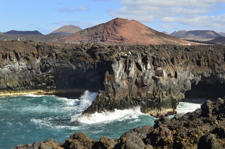 los hervideros: Spain, Canary Iceland, Los Hervideros Stock Photo