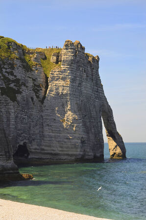 nger: France, Normandy, beach and rock formation in Etretat