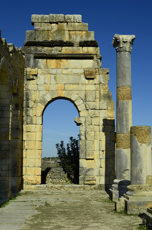 volubilis: arch and colomn in ancient roman site of Volubilis, Morocco Stock Photo