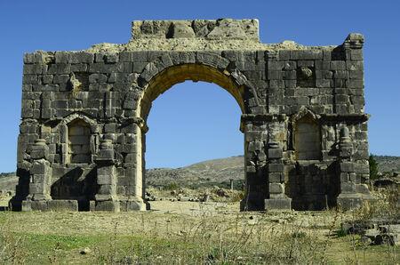 volubilis: Morocco, arch triumphal in ancient roman site of Volubilis