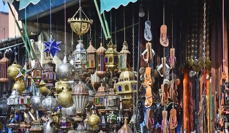 souk: Morocco, shops in the souk of Marrakesh Stock Photo