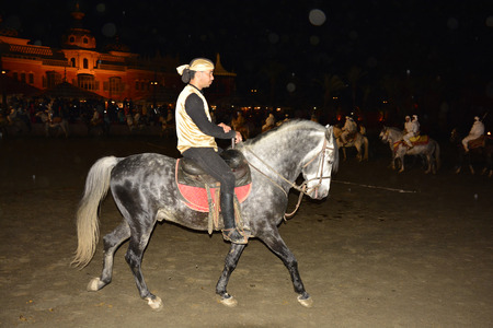 berber: Marrakesh, Morocco - unidentified equestrian by traditional Berber folklore show