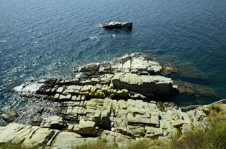 nger: Greece, Kavala, the rocks of Panagia peninsula are a preferred place for swimming