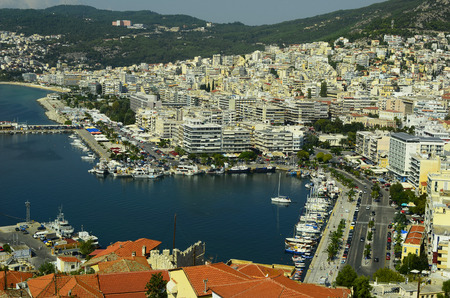 Kavala, Greece - City view with harbor, ships, buildings and promenade in the city in Eastmacedonia