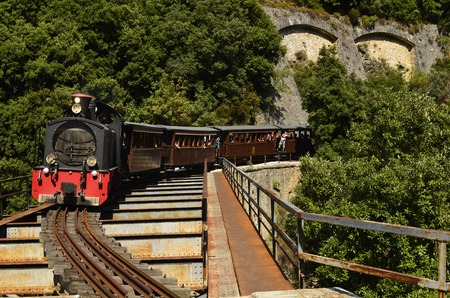 Greece, the Montzouris-Smudgy train - Pelion train - crossing a bridge