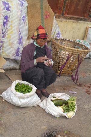 street vendor: Bhutan, female peasant as street vendor