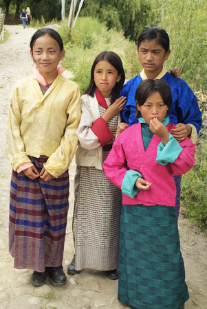 Bhutan, children in traditional clothing