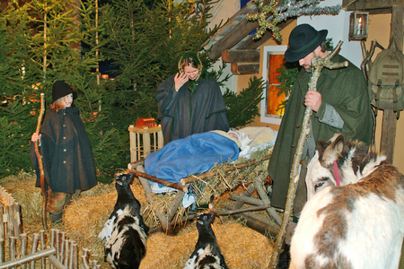 Rohr im Gebirge, Austria - December 11th, 2004: Unidentified actors perform in a Christmas event with living crib figurines in the mountain village in Lower Austria 에디토리얼