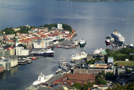 vague: Bergen, Norway, harbor vague with ships and yachts from A millionaire Melnichenko Stock Photo