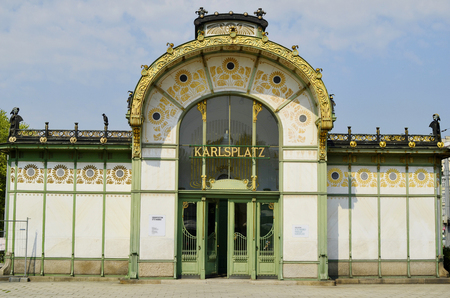 wagner: Vienna, Austria - city train station Karlsplatz built in Art Nouveau architect Otto Wagner from and designed from Stock Photo