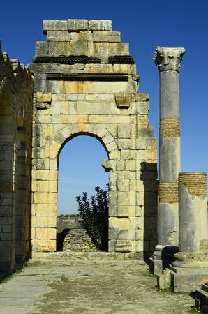 volubilis: Morocco, ancient Roman settlement Volubilis aka Walili Stock Photo