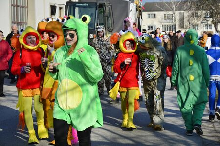 february 14th: Reisenberg, Austria - February 14th 2015: Unidentified discuised people by traditional carnival revelry in the tiny village in Lower Austria